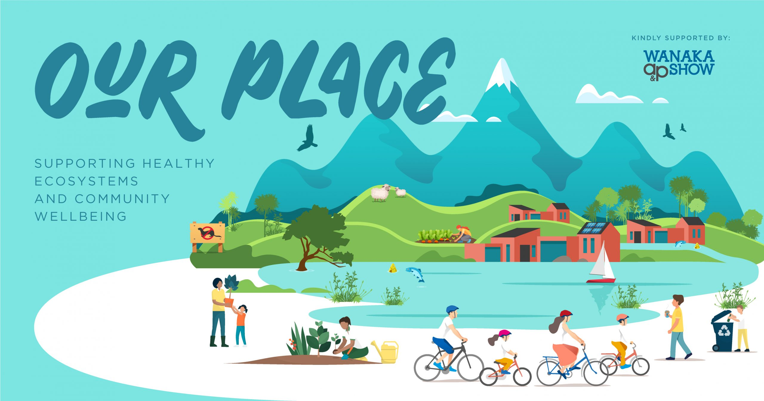 Our Place graphic showing the Wanaka landscape with various activities